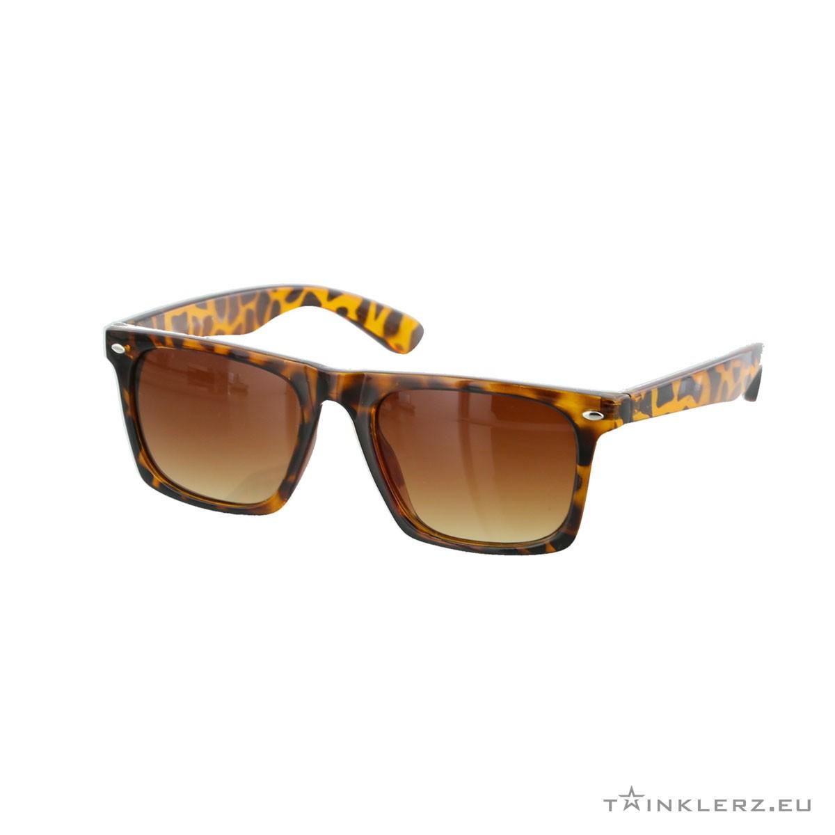Flat top tiger wayfarer sunglasses brown lenses