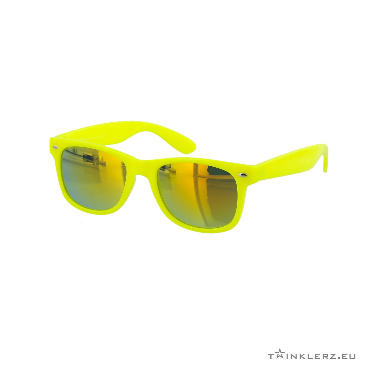 Yellow mirrored yellow wayfarer sunglasses