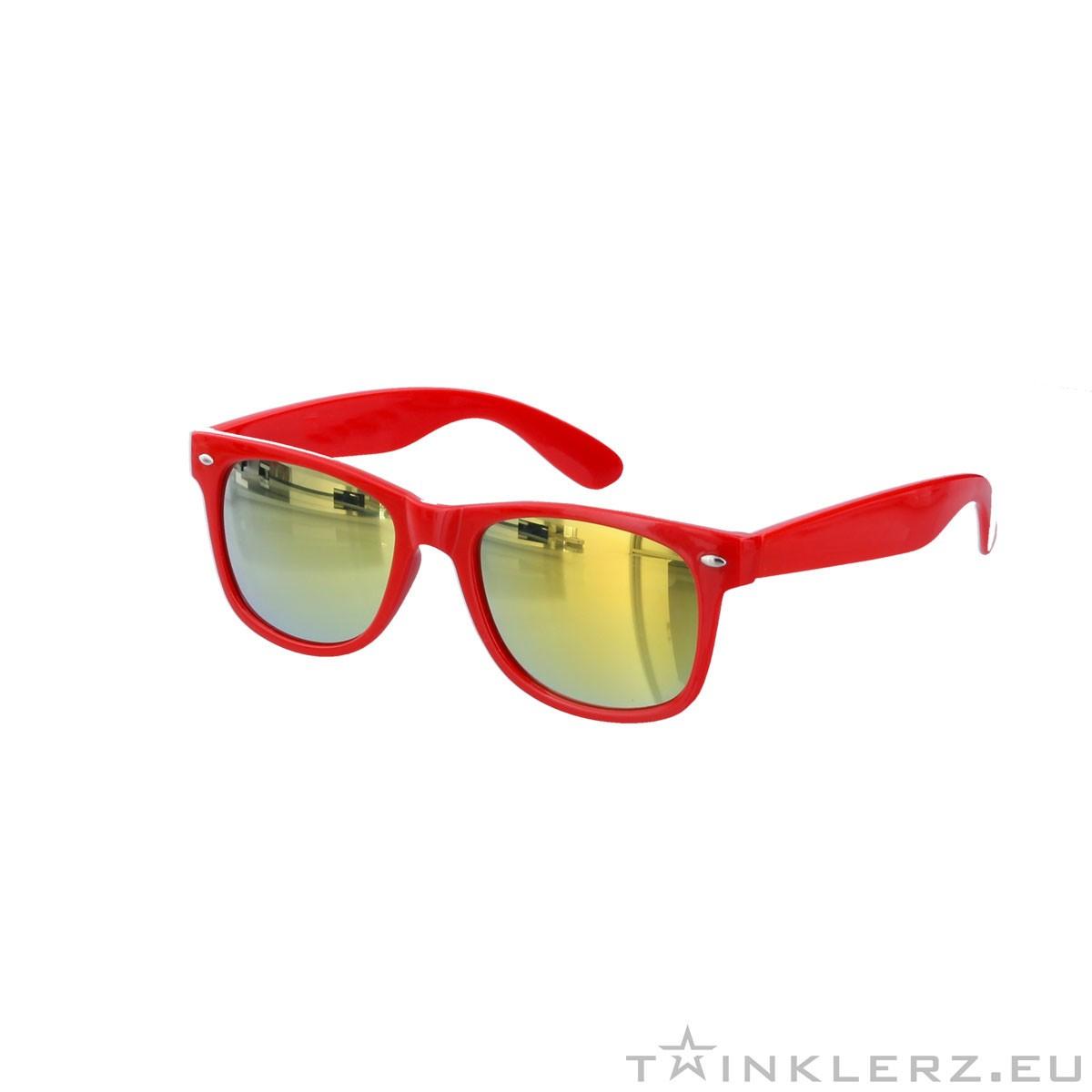 Red wayfarer sunglasses - gold mirror glass