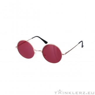 Small round golden sunglasses - red colored glasses