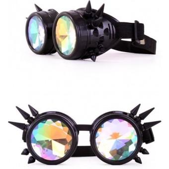 Caleidoscoop Bril Met Spikes Zwart - Steampunk Bril
