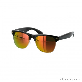 Black clubmaster modern sunglasses red orange mirrored lenses