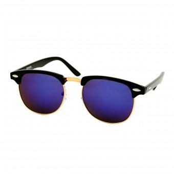 Clubmaster zonnebril zwart - blauw paars spiegelglazen