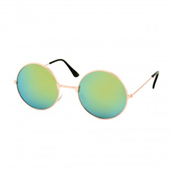 Round golden sunglasses - yellow green mirrored glass
