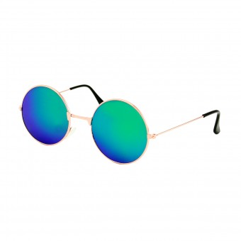 Small round golden sunglasses - green purple mirror glass