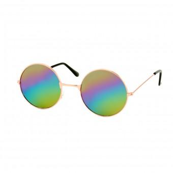 Gabberbril Goud - Regenboog Spiegel Glas