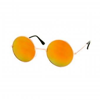 Round golden sunglasses - red orange mirrored glass