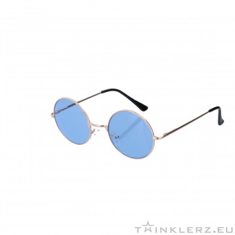 Small round golden sunglasses - blue colored glasses