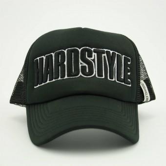 Hardstyle cap trucker black white front