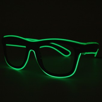 LED Neon Glasses Green Transparent Glasses