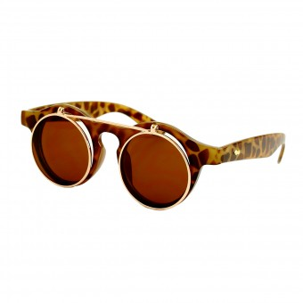 Retro zonnebril met klepje - licht tortoise bruin