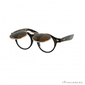 Turtle brown retro sunglasses with flaps