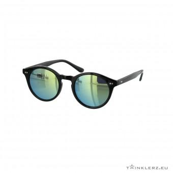 Black retro sunglasses yellow green mirrored lenses
