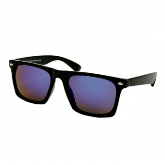 Black flat top wayfarer sunglasses - blue purple mirror glass