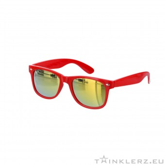 Red wayfarer sunglasses - gold mirror glass