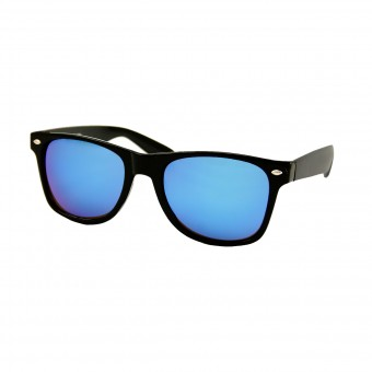 Black wayfarer sunglasses - blue mirror glass